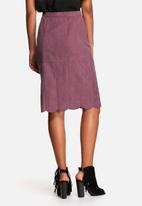 Neon Rose - Suede button front midi skirt