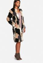 Neon Rose - Patchwork shearling coat