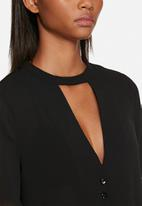 Neon Rose - Plunge neck blouse