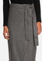 Neon Rose - Wool tie waist midi skirt