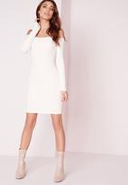 Missguided - Long sleeve bardot bodycon dress