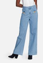 Glamorous - Embroidered wide leg jeans