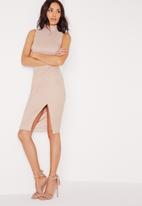 Missguided - Faux suede high neck midi dress