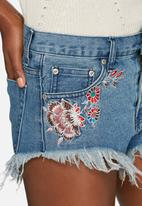 Glamorous - Frayed floral embroidered shorts