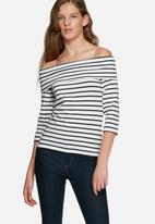 Jacqueline de Yong - Kenya stripy off the shoulder top