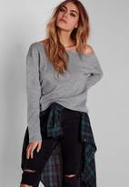 Missguided - Raw edge cropped sweatshirt