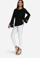 dailyfriday - Fluted sleeve sheer inset top