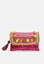 Glamorous - Embroidered pom pom clutch