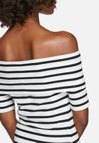 7837c117cbf dailyfriday - Rib off-shoulder short sleeve striped top. Click to enlarge