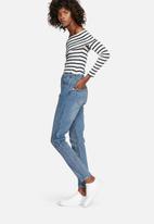 dailyfriday - Rib off-shoulder striped top