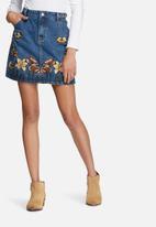 Glamorous - Denim embroidered pencil skirt