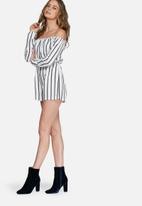 Missguided - Striped off shoulder bardot playsuit