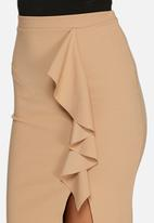 Missguided - Ruffle detail scuba midi skirt