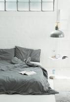 Sixth Floor - White piped duvet set granite grey