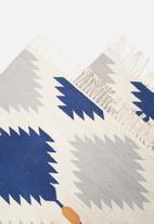 Sixth Floor - Indigo diamond rug