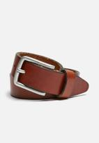 Jack & Jones - Lee leather belt- mocha bisque