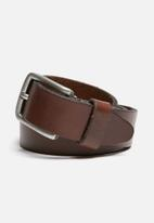 Jack & Jones - Lee leather belt - black coffee