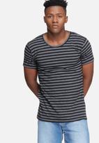basicthread - Stripe scoop neck tee - black & grey