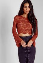Missguided - Lace Bell Sleeve Crop Top