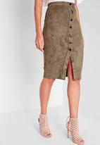 Missguided - Button faux suede midi skirt