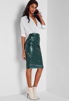 Missguided - Back Split Faux Leather Midi Skirt