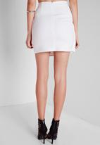 Missguided - Gold Button Wrap Mini Skirt
