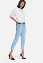 Daisy Street - Mom jeans with eyelet waistband & raw hems