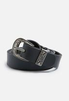 9d360edd7fec2 Thin double buckle leather belt - black dailyfriday Belts ...