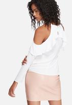 dailyfriday - Fitted cold shoulder ruffle blouse