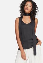 dailyfriday - Satin cami with self fabric neck tie