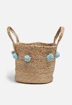 Sixth Floor - Jute pom pom basket