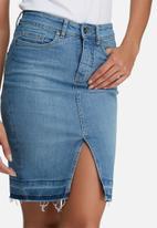 dailyfriday - Raw hem denim pencil skirt