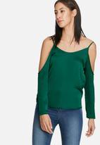 dailyfriday - Satin cold shoulder blouse