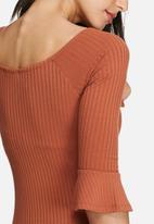 dailyfriday - Bell sleeve ribbed bodysuit