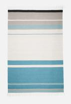 Sixth Floor - Colourful teal stripe rug