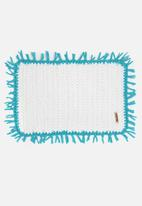 Sew Hooked - White mat with Turquoise tassel