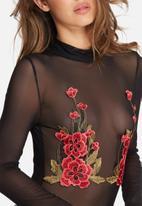 Missguided - High neck floral mesh applique bodysuit