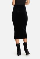 Missguided - Velvet eyelet detail front longline midi skirt