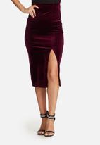 Missguided - Velvet split side midi skirt