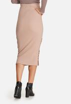 Missguided - Double popper ribbed midi skirt