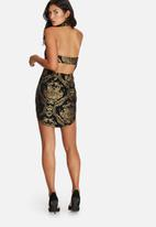 Missguided - Metallic jacquard baroque high neck mini dress