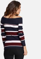 dailyfriday - Off shoulder striped skinny knit