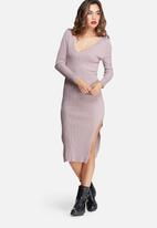 Missguided - V neck side split midi dress