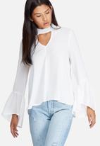 dailyfriday - Bell sleeve keyhole blouse