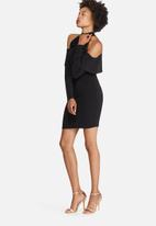 dailyfriday - Cold shoulder frill bodycon dress
