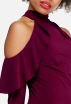 dailyfriday - Cold shoulder frill bodycon dress