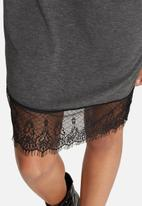 Missguided - Lace bottom graphic printed rock dress