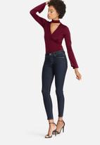 dailyfriday - Slinky wrap front knit bodysuit