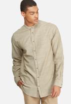 basicthread - Textured Mandarin Regular Fit Shirt