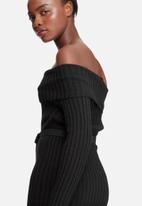 dailyfriday - Ribbed knit off shoulder dress